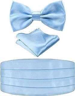 Men's Pre-tied Bow Tie Pocket Square and Cummerbund Set