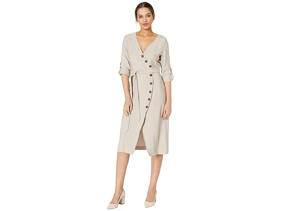 J.O.A. Wrap Dress with Buttons (Khaki) Women