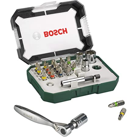 Bosch Set de 26 unidades para atornillar y llave de carraca (accesorios para taladro atornillador)