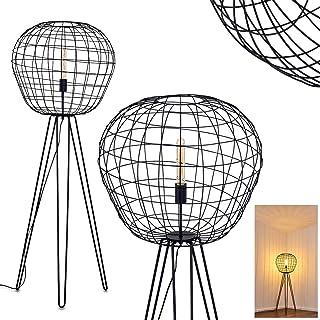 Lámpara de pie Flambeau, de metal en negro, E27, máx. 60 vatios con pantalla en óptica de jaula metálica, retro e interruptor en el cable, adecuada para bombillas LED, ideal para salón