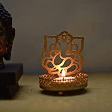 eCraftIndia Shadow Ganesh Ji Metal Tea Light Holder (8 cm x 8 cm x 11 cm, Brown)