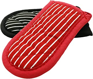 Evoio Potholders and Oven Mitts, Maximum Temperature Hot Handle Holder, Cotton Stripe Quilted Pan Handle Sleeve, Glove for BBQ, Cooking, Baking and Kitchen 2-Pack (Striped)