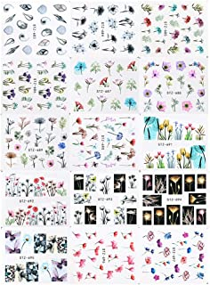 24 Sheets/sets Nail Water Sticker Flower Flamingo Beauty Slider Bloom Colorful Plant Pattern 3D Manicure Sticker