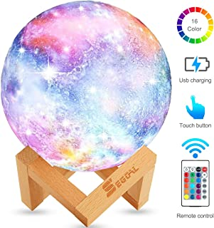 Night Light for Kids Moon Lamp 16 Colors LED 5.9 Inch 3D Printing Star Moon Light with Stand, Touch & Remote Control & USB Rechargeable Baby Light Perfect Birthday Holiday Gift for Lover Friends