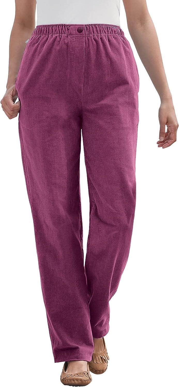 Woman Within Women's Plus Size Petite Comfort Waist Straight Leg Corduroy Pant