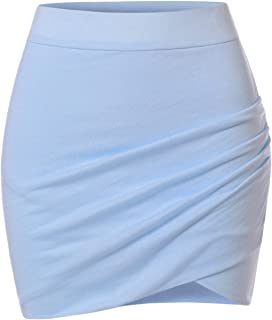 Womens Stretchy Waistband Shirring Fitted Mini Skirt