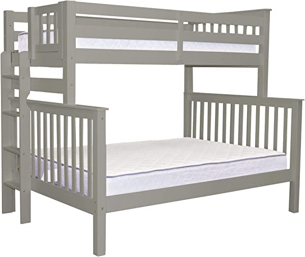 Bedz King Bunk Beds Twin Over Full Mission Style With End Ladder Gray