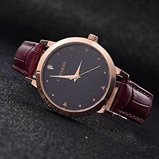 Lanbinxiang@ 6875 Round dial Waterproof Starry Pattern Fashion Ladies Quartz Watch with Leather Strap Fashion (Color : Purple)