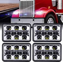 4PCS 60W 4x6 Inch Rectangular LED Headlights Dot Approved Hi/Lo Sealed Beam Replacement H4651 H4656 Hid Bulb Headlamps for KW Kenworth T600 W900 T800 Truck Peterbilt 379 Chevy S10-Black