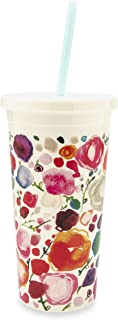 Kate Spade New York Insulated Plastic Tumbler With Reusable Straw, 20 Ounce Travel Cup, Floral