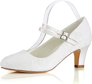 Emily Bridal Silk Wedding Shoes Vintage Round Toe Mary Jane Bridal Shoes Ivory Wedding Guest Shoes