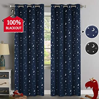 100% Blackout Curtains Starry Night Twinkle Moon and Star Galaxy Room Decor Thermal Insulated Naptime Essential Nursery Window Drape with Grommet for Kid's Room(Set of 2, Navy), W52 x L84