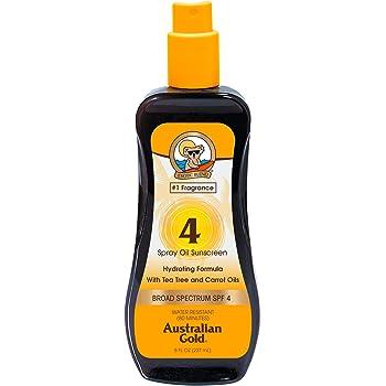 Australian Gold Spray Oil Sunscreen SPF 4 , 8 Ounce | Carrot Oil Formula | Broad Spectrum | Water Resistant