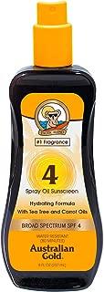 Australian Gold Spray Oil Sunscreen, Carrot Oil Formula, Broad Spectrum, Water Resistant, Cruelty Free, SPF 4, 8 Ounce