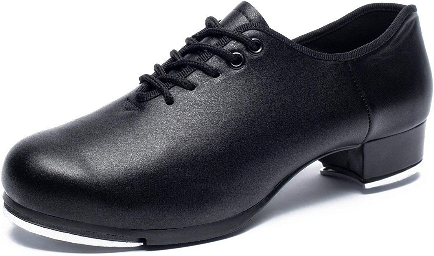 Joocare Women's Lace-Up Jazz Tap Dance shoes (Adult Unisex for Big Kid) (10 M US, Black)