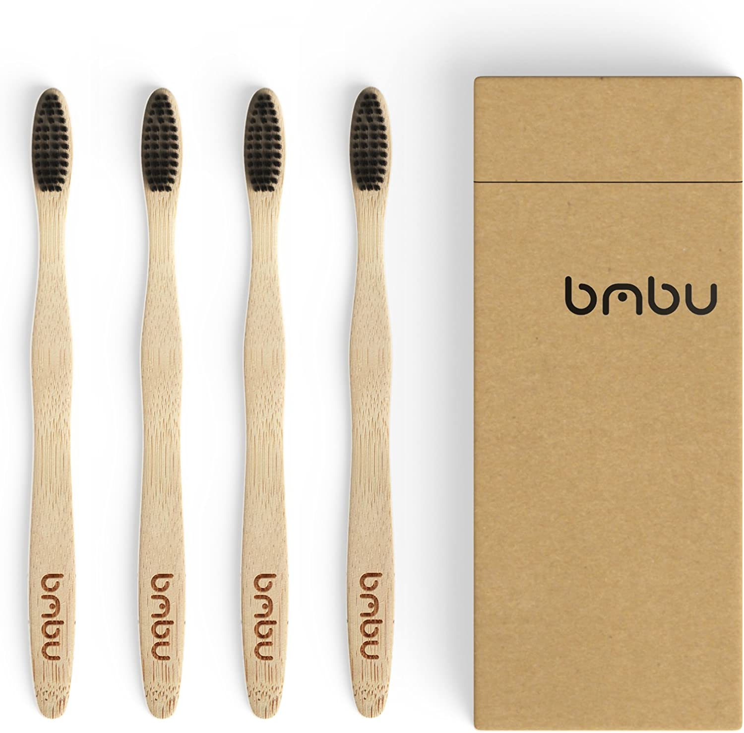 Bamboo Toothbrush 4 Pack - Soft Medium Bristles unisex Tooth 2021 new Charcoal