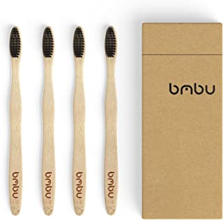 Bamboo Toothbrush 4 Pack - Medium / Soft Charcoal Bristles Tooth Brushes Wooden Handle - BPA Free, Eco Friendly, Vegan Pro...