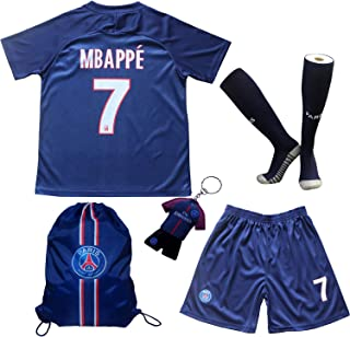 LES TRICOT 2019/2020 Paris Home #7 MBAPPE Football Futbol Soccer Kids Jersey Shorts Socks Set Youth Sizes