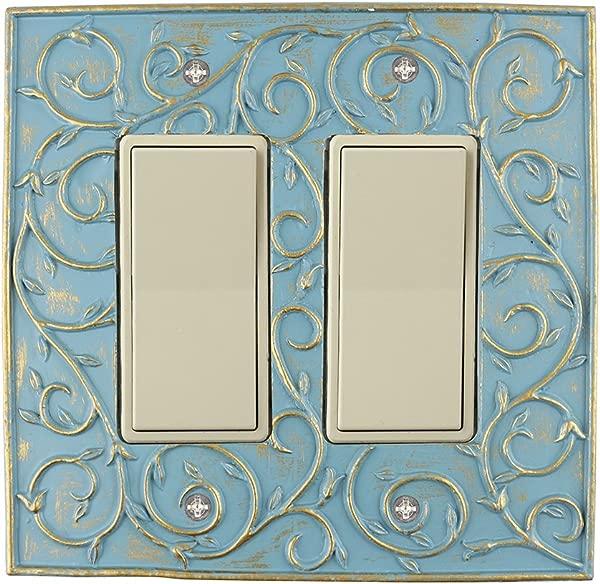 Meriville 法国卷轴 2 摇臂墙板双开关电器盖板 Cameo 蓝色配金色