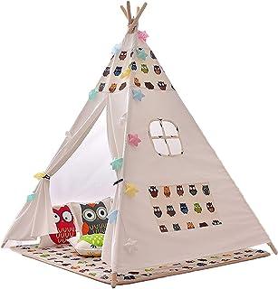 Bärbara Tält Barn, Barn Tipi Tält Med Matta Och Lamp Dekoration, Lektält Barn Lek Tält För Inomhus, Lekstuga För Inne, Can...