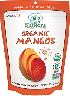 NATIERRA Nature's All Foods Organic Freeze-Dried Mangoes | Non-GMO & Vegan| 1.5 Ounce