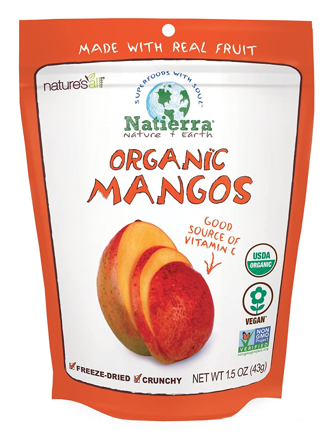 NATIERRA Nature's All Foods Organic Freeze-Dried Mangoes Non-G Superlatite Same day shipping