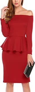 Women's Long Sleeve Off Shoulder Ruffle Cocktail Bodycon Pencil Party Dress