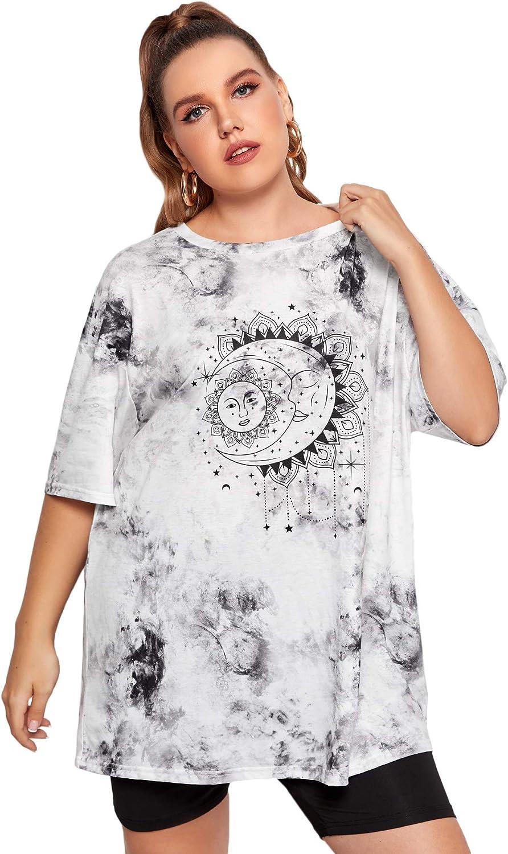 Romwe Women's Plus Size Tie Dye Graphic Print Short Sleeve Oversized T Shirt Tee Tops