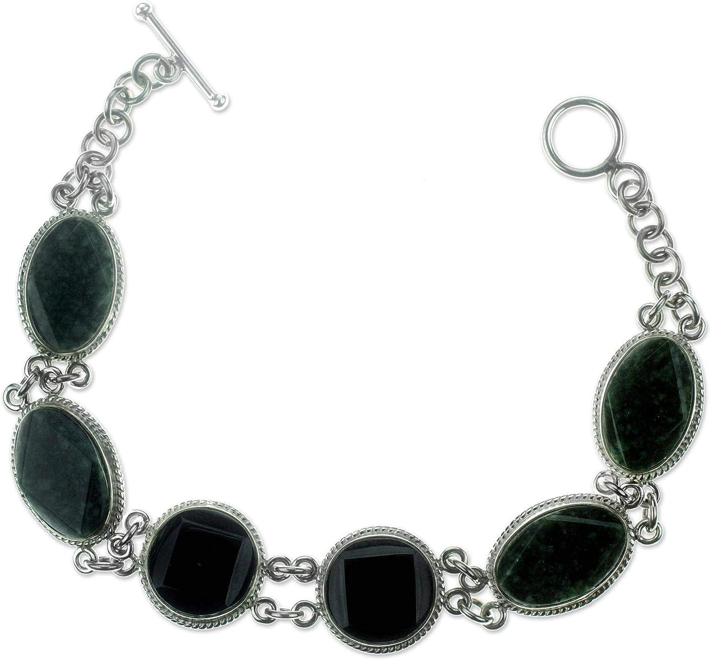 Large-scale sale NOVICA Jade Sales .925 Sterling Silver Chic Bracelet 7.5