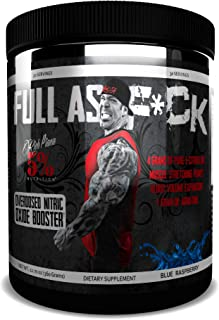 Rich Piana 5% Nutrition FULL AS F*CK Overdosed Nitric Oxide Booster (Blue Raspberry) 12.70oz (360 Grams) 30 Servings