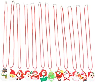 San Tokra 12 Pcs Light Up Christmas Necklace Lights, Holiday Flashing Light Necklace for Parties, Blinking LED Bulbs Santa Claus Christmas Tree Snowman Pendant, Xmas Necklace for Kids
