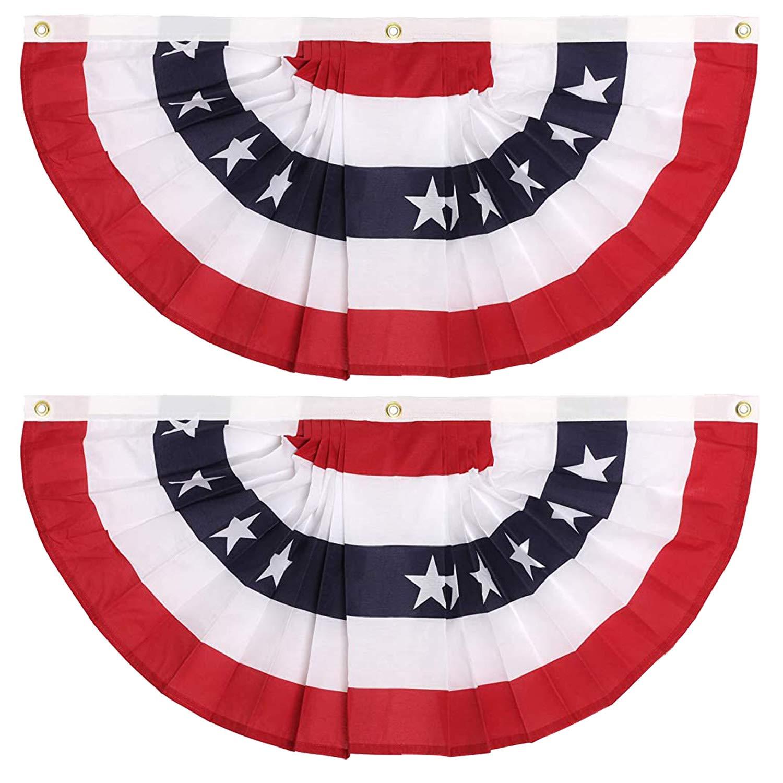 超激安特価 GIFTEXPRESS Made in USA 2 Pack Fans 3x6 Ft American 売れ筋ランキング Pleated Bunt