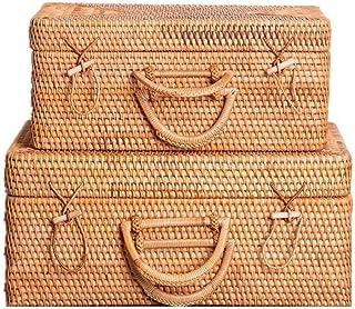 Panier à linge XINYALAMP rotin Stockage des ménages BasketRattan Panier Boîte de Rangement Valise avec Couvercle Panier de...