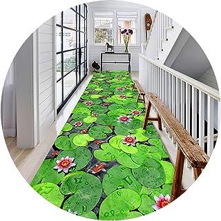 ZYFDT Hallway Runner Rug Long Runner Rugs Corridor Carpet Patrón De Estanque De Loto 3D Apto Para Pasillos Escalera Alfomb...