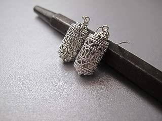 Sterling silver filigree drop earrings, Ethnic Bohemian Dangle earrings, Yemenite silver jewelry