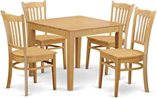 East West Furniture 5 Piece Kitchen Dinette Table and 4 Chairs Set