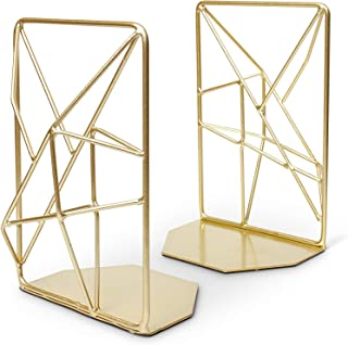 TG Premium Geometric Bookends with Matte Finish - Decorative Iron Book Stoppers - Industrial/Home/Office Creative Shelf De...