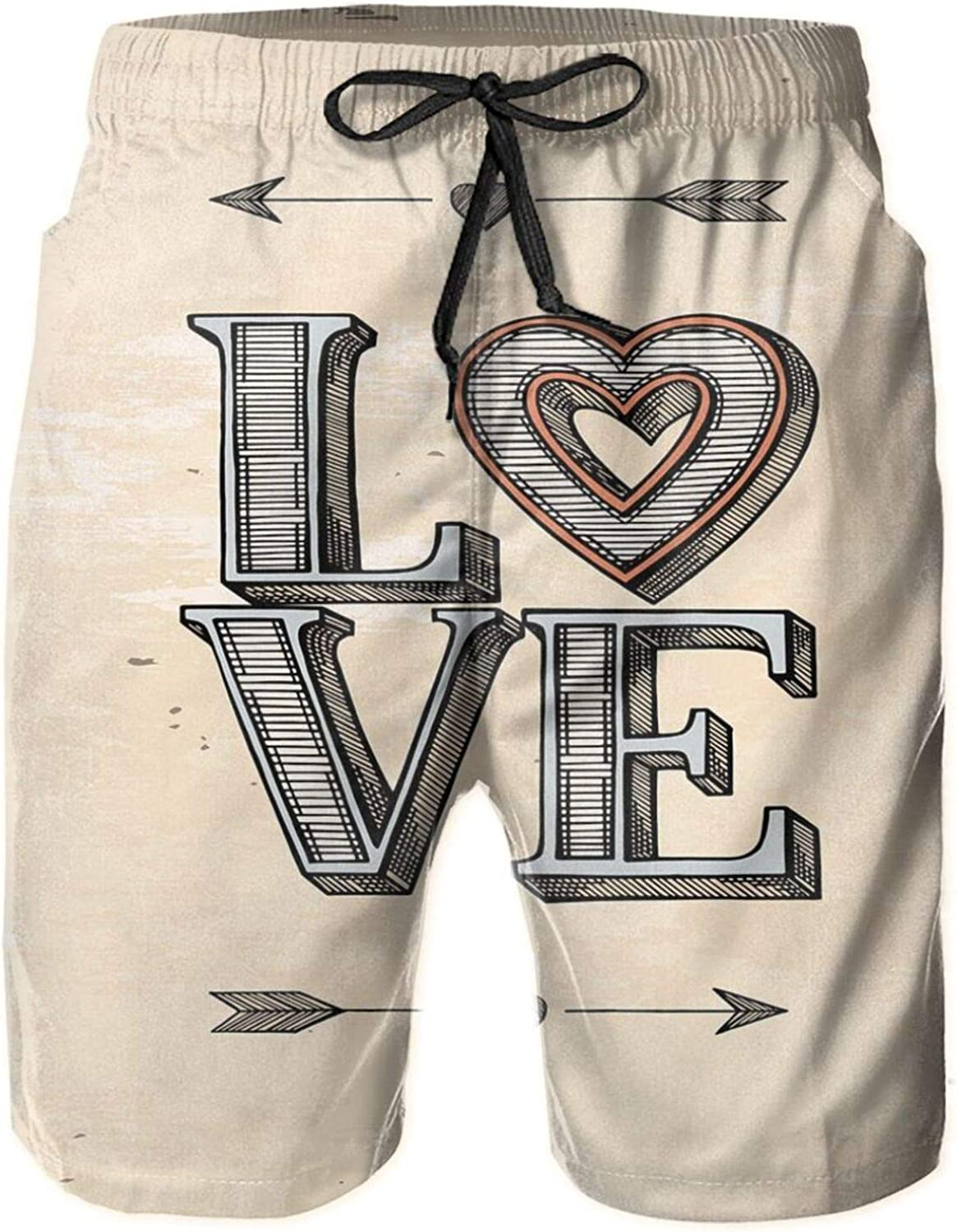 Grunge Letters with Valentines Heart and Arrows Boho Tribal Hipster Design Mens Swim Shorts Casual Workout Short Pants Drawstring Beach Shorts,XL