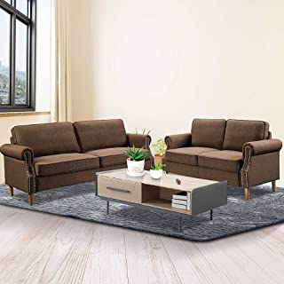 Recaceik 2 Piece Living Room Sofa Set Morden Style Couch Furniture Upholstered Sectional Loveseat for Office, Home (Brown)