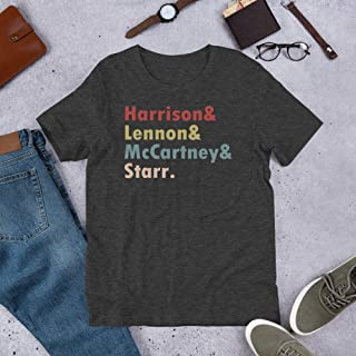 Vintage The-Beatles Names Harrison& Lennon& McCartney Starr Gift for Men Women Girls Tshirt
