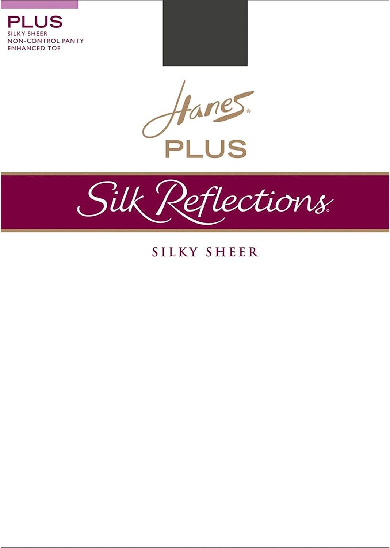 Hanes Silk Reflections Plus Enhanced Toe Sheer Pantyhose, Barely Black, 2P