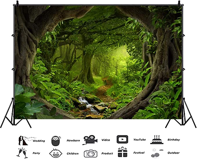7x10 FT Forest Vinyl Photography Background Backdrops,Winding Wooden Road Through National Park in Netherlands Northern Fall Forest Background for Selfie Birthday Party Pictures Photo Booth Shoot