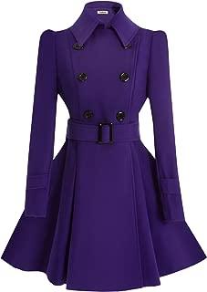 Women Swing Double Breasted Wool Pea Coat with Belt Buckle Spring Mid-Long Long Sleeve Lapel Dresses Outwear