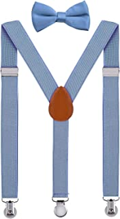 SUNNYTREE Kids Mens Suspenders Adjustable Y Back with Bow Tie Set