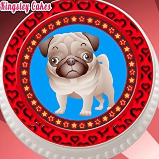 PRECUT EDIBLE ICING CAKE TOPPER - 7.5 INCH ROUND CUTE PUG DOG PUPPY WITH RED BORDER