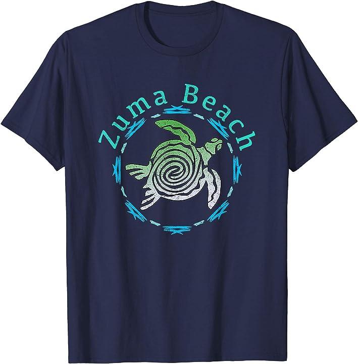 Zuma Beach T-Shirt Vintage Tribal Turtle Gift T-Shirt