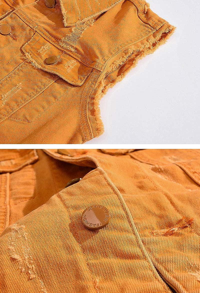 ebossy Men's Ripped Distressed Denim Vest Sleeveless Button Up Jean Vest Jacket