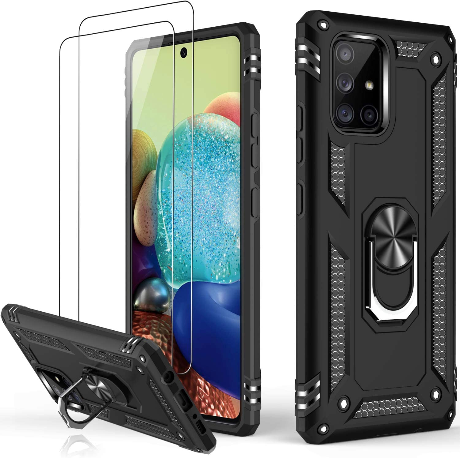 LUMARKE Galaxy A71 Case,Pass 16ft. Drop Tested Military Grade Cover with Magnetic Ring Kickstand Compatible with Car Mount Holder,Protective Phone Case for Samsung Galaxy A71 4G LTE Black
