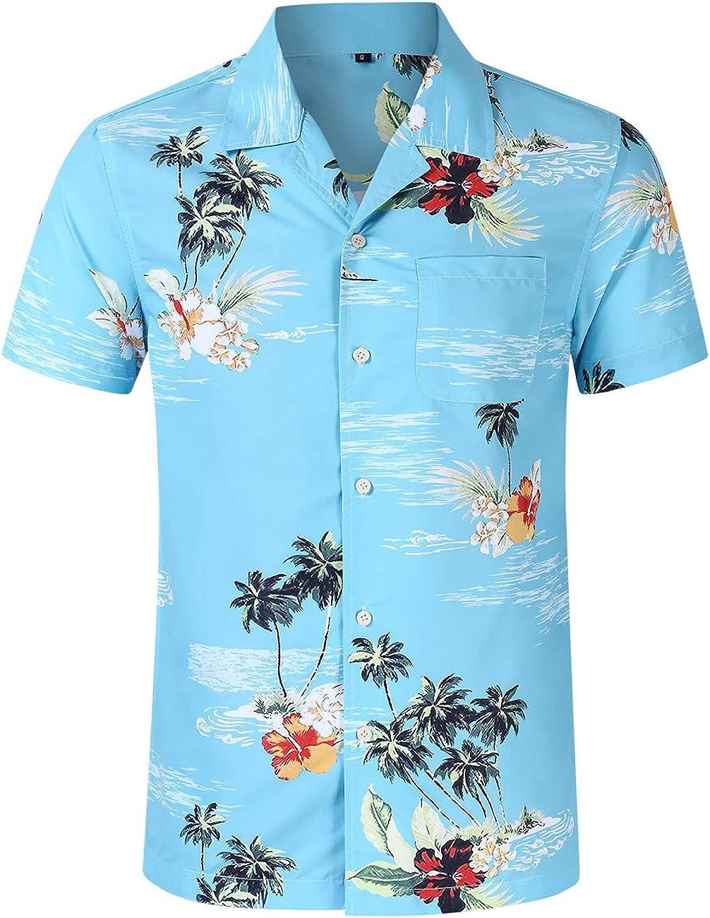 Satankud Men's Tropical Hawaiian Shirt Casual Front-Pocket Short Sleeve Beach Shirts Flower Printed