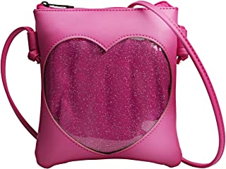 FF1 Adjustable Small Clear Heart Cross-body Ita Bag Cell Phone Wallet Shoulder Purse with Zipper